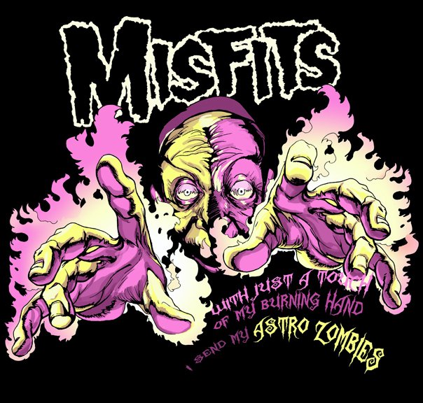 misfits flaming hands pink yellow