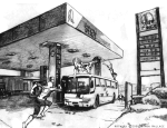 Spidey in action at gas station
