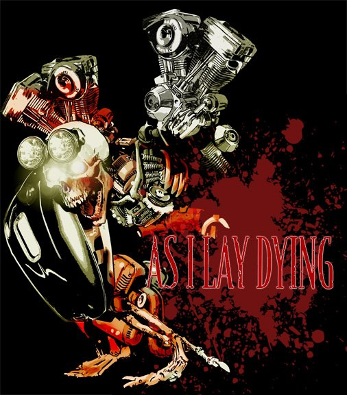 skull engine blood splatter harley headlamps as I lay dying