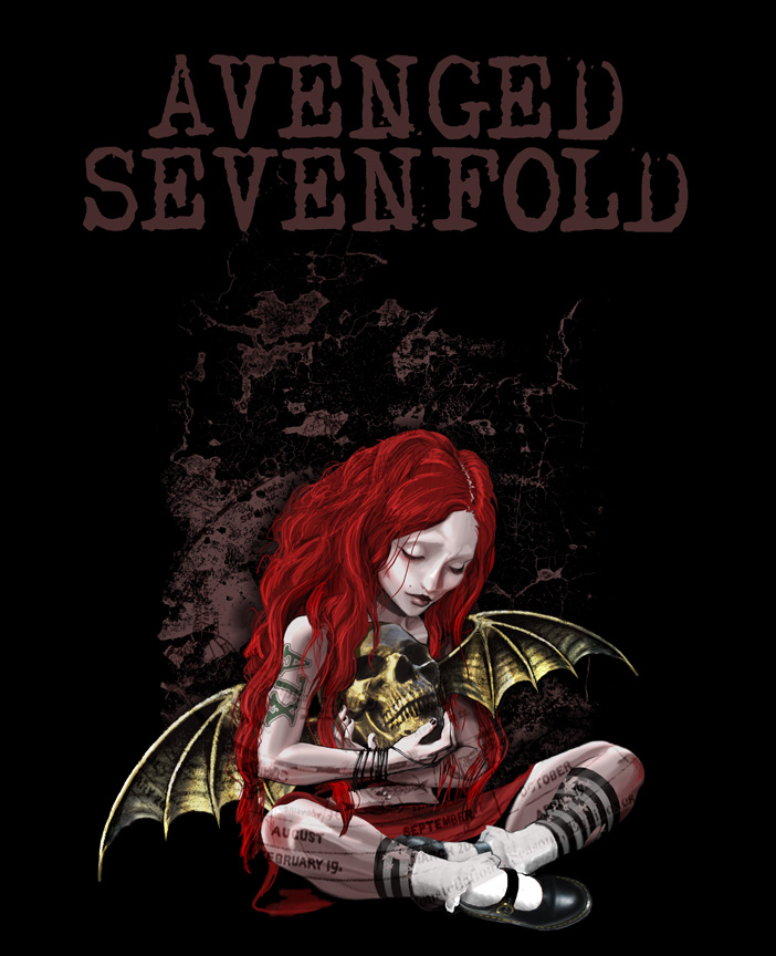 Avenged Sevenfold redhead bat skull wing goth